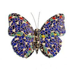 Multi Coloured Blue Mosaic Wall Mountable Butterfly Garden Wall Art  Ornament #garden #ornament #