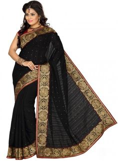 Fancy Black Color Color Silk Based Embroidered #Saree #designersarees #clothing #womenswear #womenapparel #ethnicwear