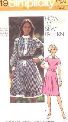 Simplicity 9849 Dress with Peter Pan Collar & Flared Skirt Simplicity 9849, size 12 UNCUT