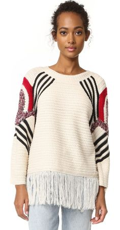 fringe sweater by Moon River. Stripes and colorful patches lend a graphic touch to this relaxed Moon River sweater. Ribbed banding trims the neckli...
