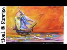 Sailboat Sunset Seascape Acrylic Painting for Beginners Acrylic Painting For Beginners, Acrylic Painting Tutorials, Painting Videos, Painting Process, Painting Lessons, Art Lessons, Acrylic Paintings, Painting Techniques, Boat Drawing