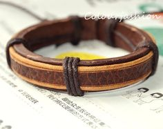 Christmas gift, Winter Gift, Brown Leather Cuff Waxed Cotton Cord Wrap Bracelet on Wanelo