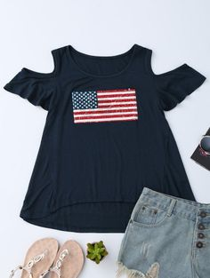 GET $50 NOW | Join Zaful: Get YOUR $50 NOW!http://m.zaful.com/american-flag-sequins-cold-shoulder-t-shirt-p_279296.html?seid=3035617zf279296