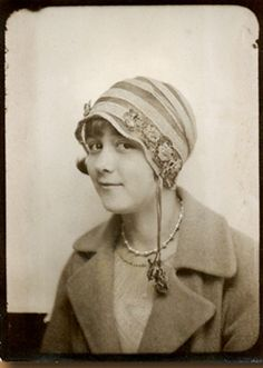+~ Vintage Photo Booth Picture ~+  Young 1930's woman with a lovely hat.