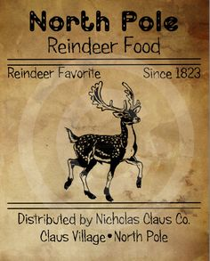 Primitive Christmas Printable - Reindeer Food Feedsack - Digital File - Pantry Logo Labels - JPEG for Jar, Crock, Doll, Pillow