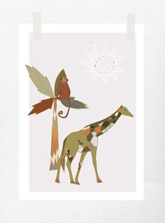 Giraffe Art  Monkey  Jungle Decor  Palm tree  by piiapodersalu, $18.00