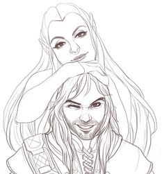Another fan art sketch of these two cuties. Tauriel and Kili Tolkien Hobbit, O Hobbit, Lotr, Kili And Tauriel, Legolas And Thranduil, Elfa, New Fantasy, Fan Art, Couple Art
