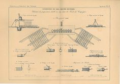 1872 Antique Technical  Drawing Civil Engineering by carambas