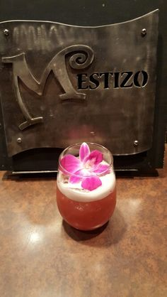Mother's Day cocktail at Mestizo Restaurant. Kicking Mule Rum, Cointreau, Basil, and Pineapple for a delicious libation for Mom. Mexican Cocktails, Rum, Basil, Pineapple, Pudding, Restaurant, Desserts, Food, Tailgate Desserts