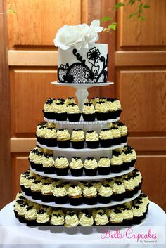 Black & white mini cupcake tower