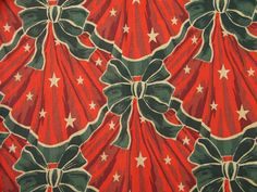 Vintage 1980s christmas fabric in highquality unused cotton with large printed green christmas rosette/ stars pattern on red bottomcolor on Etsy, $7.20 AUD