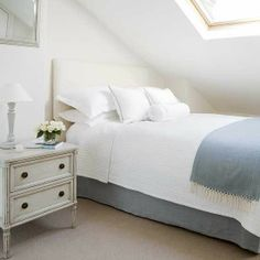High Street Market: A Guest Room in the Attic. Blue and white bed.
