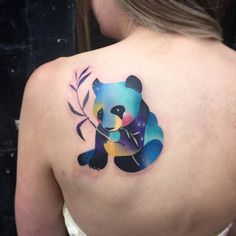 100 Trendy and Irresistible Tattoo Ideas for Girls – Page 6 of 10 Panda Bear Tattoo by martyna_popiel Mini Tattoos, New Tattoos, Small Tattoos, Bear Tattoo Meaning, Panda Bear Tattoos, Animal Tattoos For Men, Bear Watercolor, Tattoo Designs, Tattoo Ideas