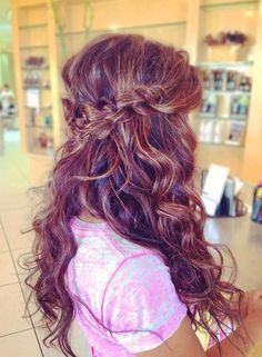 beachy waves and Chinese staircase waterfall braid half up