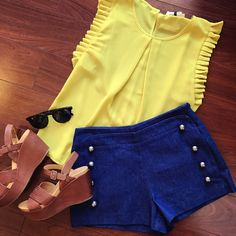 Denim sailor shorts Citron ruffle sleeve blouse Kork-Ease wedges  DIFF eyewear sunglasses