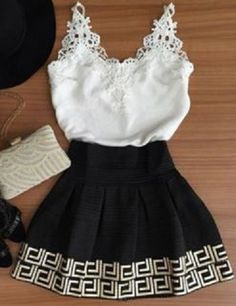 Stylish Plunging Neck Sleeveless White Lace Appliques Tank Top + Printed Skirt Women's Twinset #Black_and_White #Lace #Twinset #Fashion