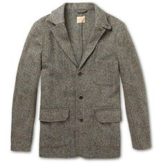 NN.07 Selkirk Slim-Fit Harris Tweed Coat (17.360 RUB) ❤ liked on Polyvore featuring men's fashion, men's clothing, jackets, blazers, coats, grey and slim fit mens clothing