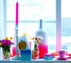Left over paint... dip a vase and candle sticks  Want to do this with grey and teal