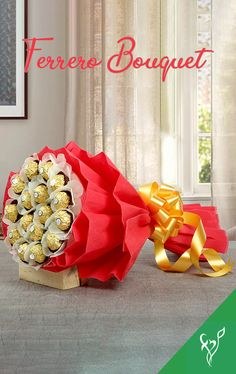 Your Gift Contains: Bouquet of Ferrero Rocher Chocolates- 16 pcs in Red packaging. Candy Bouquet, Rose Bouquet, Flower Bouqet, Ferrero Rocher Bouquet, Chocolate Flowers Bouquet, Silk Chocolate, Express Gifts, Send Chocolates, Ramadan Crafts