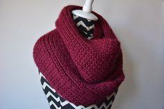 Burgundy Infinity Scarf / Knit Baby Alpaca Cowl / by danielastange