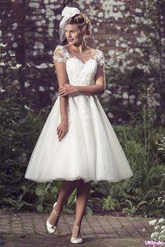 Modish short wedding dress design