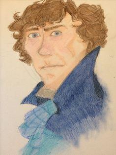 Artist Kylie Majchrzak-Brino (@stormywolfart) on instagram creates the pastel portrait of Sherlock Holmes. The best fanart of Sherlock Holmes- undiscovered.