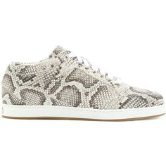 Jimmy Choo Miami snake print sneakers (1.845 RON) ❤ liked on Polyvore featuring shoes, sneakers, round toe shoes, jimmy choo sneakers, python print shoes, jimmy choo trainers and lacing sneakers