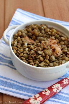 Salada de lentilha com salmão