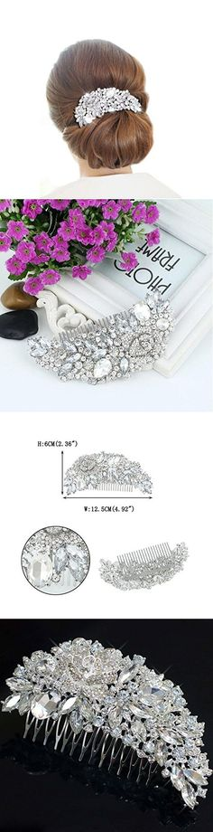 Aukmla Bling Bridal Wedding Hair Combs with Crystals for Women