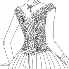 lady corset to color with Color Therapy: http://www.apple.co/1Mgt7E5 #colortherapyapp #coloring