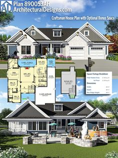 Architectural Designs Craftsman House Plan 890053AH gives you over 2,100+ square feet of heated living space. Ready when you are, where do YOU want to build? #890053AH #adhouseplans #architecturaldesigns #houseplan #architecture #newhome #newconstruction #newhouse #homedesign #dreamhome #dreamhouse #homeplan #architecture #craftsmanhouse #craftsmanplan