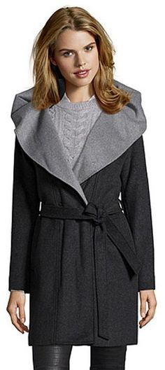 Tahari Marla Wrap Front Wool Coat   Wrap coats   Pinterest   Wrap ...