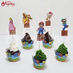 Wrapper e Topper p/ cupcakes Super Mario Bros. Link: http://www.graficafogovivo.com.br/loja/shapes/kits-digitais/kit-digital-super-mario-bros.html