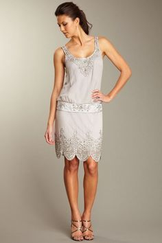 Sue Wong Short Blouson Flapper Dress