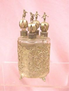 800 Silver and Crystal Cologne Bottle Set