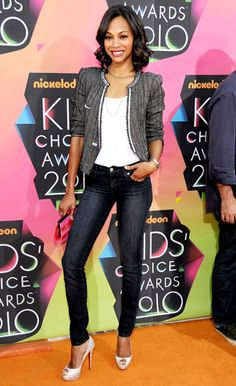 The Losers actress spiced up jeans and a T-shirt with a Isabel Marant tweed jacket and Louboutin peep-toes at Nickelodeon's Kids' Choice Awards in L.A.