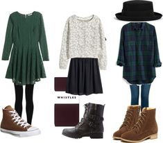 Violet Harmon Inspired Christmas Outfits by giselledubois featuring lace up booties H M dark green dress, 67 NZD / H M rayon dress, 11 NZD / Madewell plaid flannel shirt, 120 NZD / H M raglan sweater,...