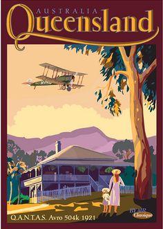Queensland  QANTAS Avro504k Postcard