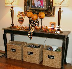 Amazing Love The Three Storage Baskets Under Sofa Table. Good Use Of Space