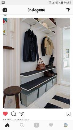 House entrance storage entryway ideas Ideas for 2019 Easy Home Decor, Home Decor Trends, Ikea Algot, Narrow Entryway, Hallway Inspiration, Hallway Storage, Entryway Organization, Organization Ideas, House Entrance