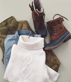 Cold weather style essentials, featuring the SOREL Winter Fancy Lace II Boot.