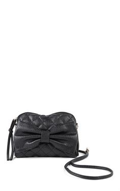 Deb Shops Vinyl Quilted Crossbody Bag with Bow Front $14.85