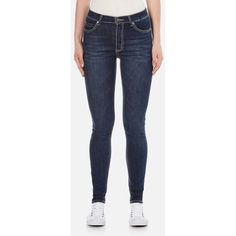 Cheap Monday Women's Second Skin High Waisted Skinny Jeans - Credit... (83 CAD) ❤ liked on Polyvore featuring jeans, blue, blue skinny jeans, skinny leg jeans, super skinny jeans, high-waisted jeans and skinny fit jeans