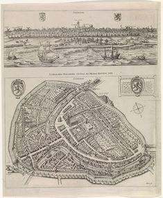 Panorama en plattegrond van Schiedam, 1598, Jacob de Gheyn (II), 1598
