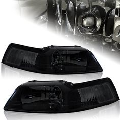 99-04 Ford Mustang Smoke Housing Headlights with Corner light in 1pc 1999 - 2001 Ford Mustang ( all models: GT SVT Cobra Mach 1 / Coupe and Convertible ). Package includes: 2x Headlight ( 1x passenger and 1x driver side ) / Lightbulbs and screw are not included. Brand new smoked JDM style housing with RS Style with clear corner lights. OEM Fitment and can to 42000K or higher opti-blue hyper white ... #HK5 #Automotive_Parts_and_Accessories