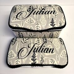 grey leaves diaper wipe case set of 2 personalized grey by Ajobebe