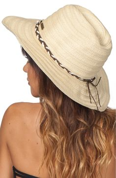 You'll love this woven straw cowgirl hat trimmed with a bead-and-shell band whether your preferred ride is a horse or a surfboard.