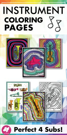 These musical instrument coloring pages are fun activities to use after teaching your instrument families lessons, or unit on instruments of the orchestra. Brass, woodwind, percussion, string and keyboard families are included and students are free to col Piano Lessons, Music Lessons, Art Lessons, Instruments Of The Orchestra, Musical Instruments, Middle School Music, Music Worksheets, Music Activities, Family Activities