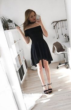 Pretty babe @_xoxoliana_ is ready to party in her black off-shoulder high-low skater dress. #LBSDaily