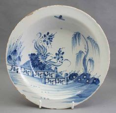 English delft shallow bowl, circa 1750. More stock available at www.martynedgell.com